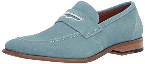 STACY ADAMS Men's Colfax Moc-Toe Slip-On Penny Loafer, Chalk Blue 15 M US (Penny Moc)