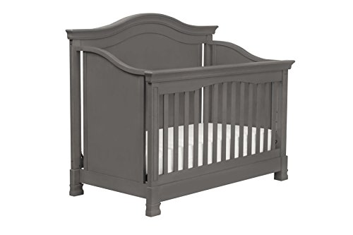 Classic Louis 4-in-1 Convertible Crib with Toddler Bed Conversion Kit,  Manor Grey ()