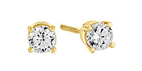 Diamond Gold Stud Set (10K Solid Yellow Gold Natural Diamond Solitaire Stud Earrings With Screw Back (0.5 Ct) Free & Fast Shipping)