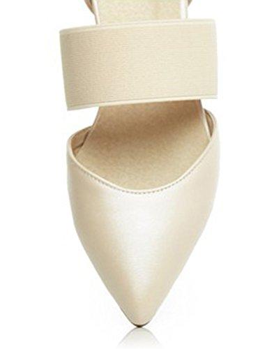 Aisun Da Donna Eleganti Comode Scarpe A Punta Nascoste Con Zeppa Elastica Beige