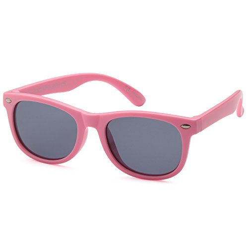 TRUST OPTICS Soft Flexible Casual Style Kids Polarized Sunglasses in Classic Aviator and Cat eye Rubberized Shades for Baby and Children Age 3-10 (Pink Wayfarer Style)
