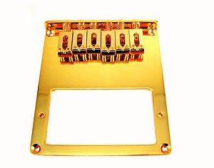 Puente para guitarra Telecaster diseño con texto para guitarra eléctrica dorado silletas para espacio + tornillos + llave: Amazon.es: Instrumentos musicales
