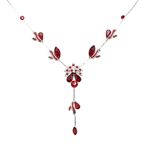- Faship Gorgeous Red Crystal Floral Necklace Earrings Set - Red