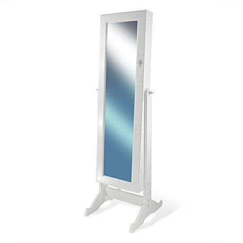 Schmuckschrank mit Beleuchtung,Led, großer Spiegel Schrank Landhaus Schmuckkommode in Weiß, 145,5 x 46 x 47 cm, Ankleidespiegel, Standspiegel, Schminkschrank -