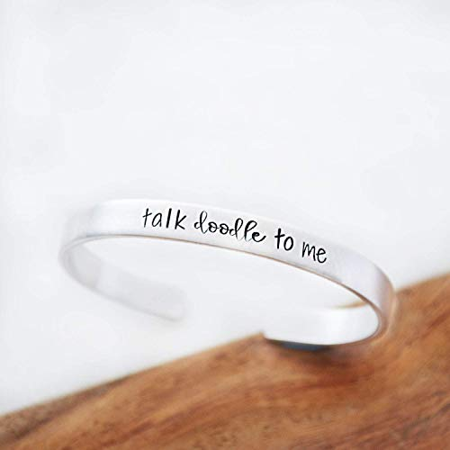 (Pet Mom Christmas Gifts Dog Owner Talk Doodle to Me hand Stamped Funny Cuff Bracelets for Women)