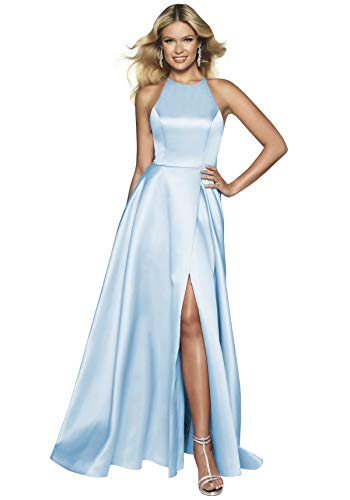 Women's Halter A Line Satin Bridesmaid Dress Long Side Slit Party Formal Prom Gowns with Pockets Light Blue Size 2 ()