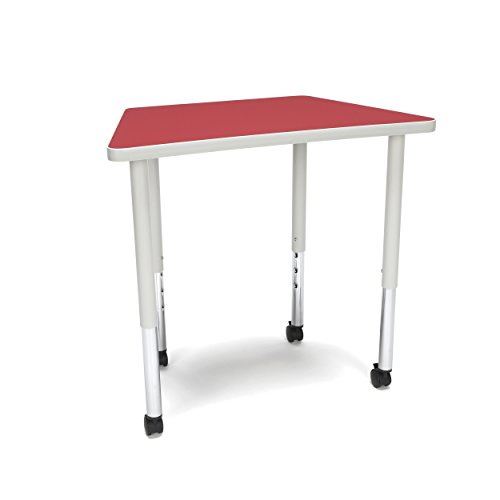 (OFM TRAP-LL-RED Adapt Series Trapezoid Standard Activity Table - Height Adjustable Desk 23-31″,)