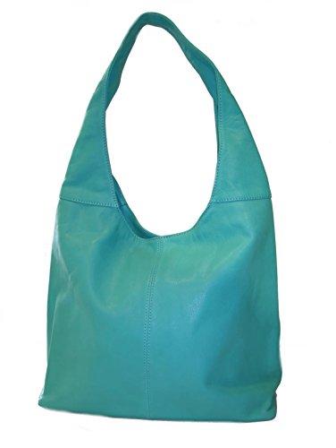 SUPERFLYBAGS Borsa Donna Shopper a Spalla In Vera Pelle Morbida Sauvage modello Katy Made In Italy Turchese
