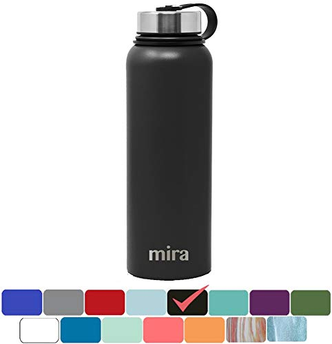 MIRA 40 Oz Stainless Steel Vacuum Insulated Wide Mouth Water Bottle | Thermos Keeps Cold for 24 Hours, Hot for 12 Hours | Double Walled Powder Coated Travel Flask | Black