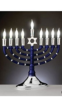 (Premium Blue and Silver Plastic Electric Menorah with 9 Frosted White Bulbs)