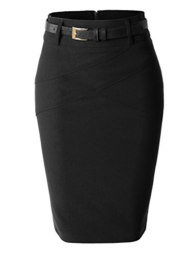 LE3NO Womens Plus Size High Waisted Midi Skirt with Belt