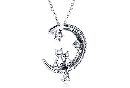 S925 Sterling Silver Necklace, Cat on Moon Pendant Oxidation Birthday Gift for Women Girl