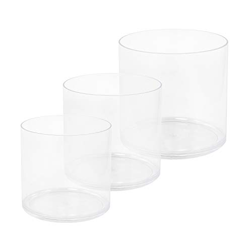 (Royal Imports Flower Acrylic Vases Cylinders - Decorative Centerpiece for Home or Wedding - Non Breakable Plastic, 1-Set of 3 Sizes: 4