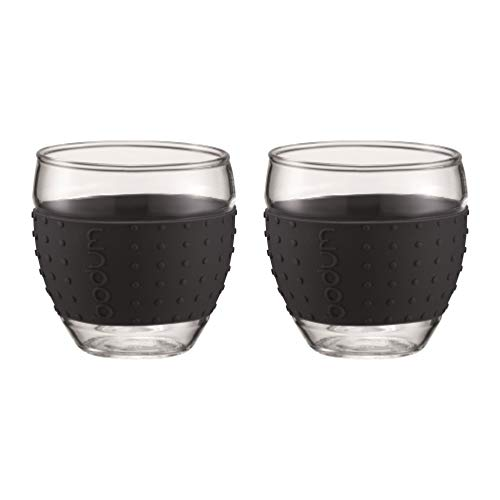 Bodum 3-Ounce Pavina Glasses with Silicone Grip, Black, Set of 2