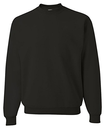 Sweatshirt Fleece Adult Crewneck (Jerzees Adult Preshrunk Fleece Crewneck Sweatshirt, Blk Hthr, Large)