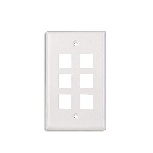 Maxmoral 5-Pack 6-Port Wall Plate Keystone Jack with Screw - White