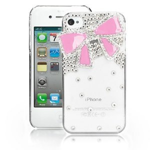 EVTECH(TM) Pink Bow GEM Series Luxury Crystal Diamond Bling Design Cover Case for Iphone 4 4g 4s (100% Handcrafted)