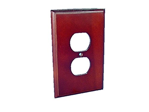 Leviton 89203-CHR 1-Gang Duplex Outlet Wood Wallplate, Cherry - Look Wall Wood