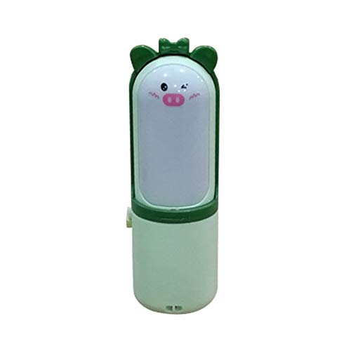 tlongtea65 Cute Pig Portable USB Charging Mini Handheld Cooling Fan with LED Night Light Green