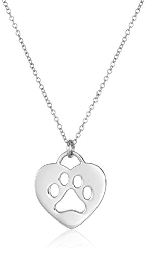 Sterling Silver Heart with Paw Cutout Pendant Necklace, 18