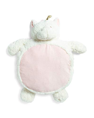 Kelly Baby Dreamer Belly Blanket, White and Grey Sloth Plush Stuffed Animal Tummy Time Play Mat (White Pink Unicorn) ()