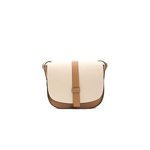 Donatella Pompei bolso de hombro de las mujeres en cuero genuino 26x23x9 Cm Beige Tan