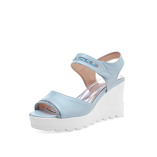 AllhqFashion Women's High-Heels Soft Material Solid Hook-and-loop Open Toe Sandals Blue iTXWKSL1Pm