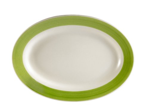Fine Trendy Edge (CAC China R-14-GREEN Rainbow Rolled Edge 12-1/2-Inch by 8-5/8-Inch Green Stoneware Oval Platter, Box of 12)