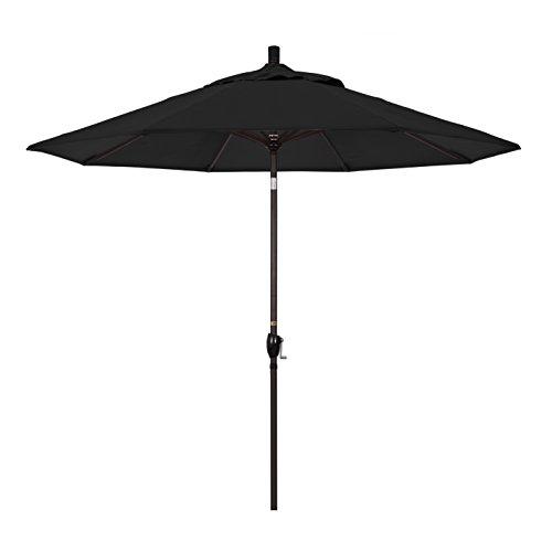 California Umbrella 9' Round Aluminum Market Umbrella, Crank Lift, Push Button Tilt, Bronze Pole, Sunbrella Black