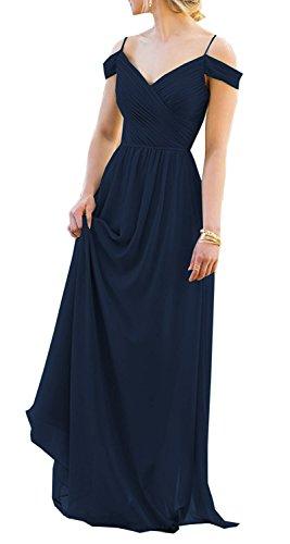 Amore Femmes De Mariée En Mousseline De Soie Élégante De Demoiselle D'honneur Robe Longue Soirée Robe De Bal De L'épaule Navyblue