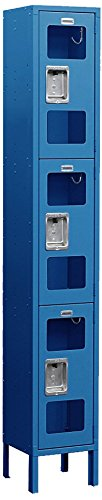 Salsbury Industries S-63165BL-U Triple Tier 12-Inch Wide 6-Feet High 15-Inch Deep Unassembled See Through Metal Locker, Blue by Salsbury Industries