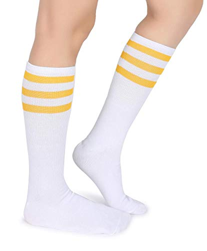 Pareberry Classic Triple Stripes Soft Cotton On the Calf Retro White Tube Socks - Yellow Tube