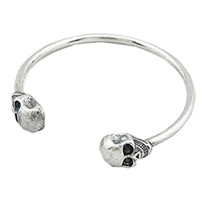 Discount Unisex Sterling Silver Plated Punk Double Skull Head Cuff Open Adjustable Bracelet,65MM free shipping