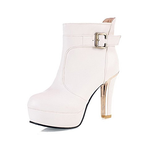 Pull High Heels Women's Low On WeiPoot Top Solid PU White Boots Rq5awatC