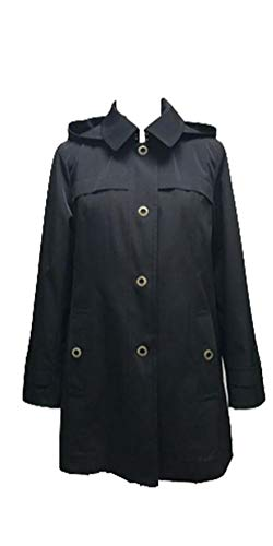 (London Fog Ladies Hooded, A-Line, Mini Trench (Rain) Coat, Black-Medium)