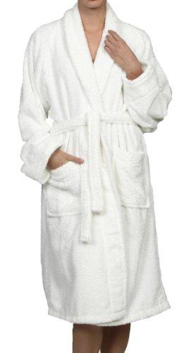 Superior Hotel & Spa Robe, 100% Premium Long-Staple Combed Cotton Unisex Bath Robe for Women and Men - Large, White