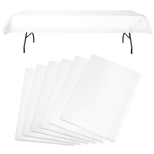 Party Like its 99 Flannel Backed Plastic Tablecloths (Set of 6) | Best Opaque Heavy Duty Wipeable Disposable Table Cloth | Premium White Vinyl Rectangle Table Cover | 54x108 Inches
