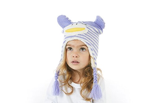- S.W.A.K Toddler Girls Knit Hat with Ear Flaps And Gloves Sets- Purple