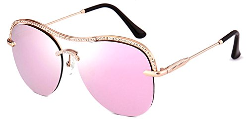 GAMT Aviator Rhinestones Rimless Womens Sunglasses with Metal Frame Party Favors Designer UV Pink