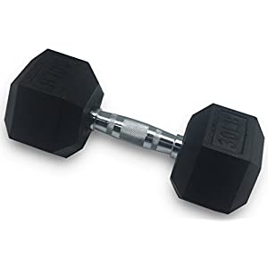 Everyday Essentials Barbell Rubber Coated Cast Iron Hex Dumbbell, Single