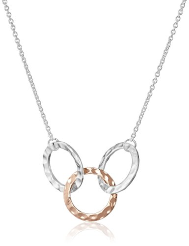 Hammered Ring Necklace (Sterling Silver and Rose Gold Plated Three Ring Pendant Necklace, 17.75