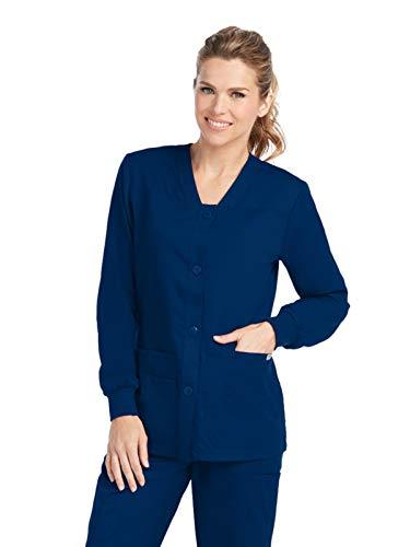 (Grey's Anatomy Women's Junior Fit 4 Pocket Sport Button Front Scrub Jacket, Indigo, X-Large)