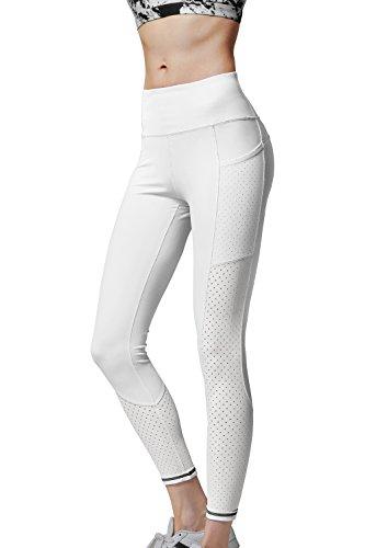 CHICMODA Yoga Capris Pants Tummy Control Workout Stretch Leggings White S