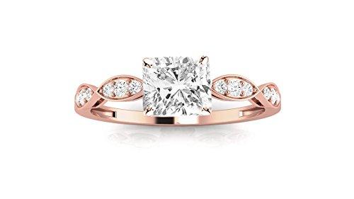 0.65 Carat Petite Curving Cushion Cut Diamond Engagement Ring (E Color VS2 Clarity Center Stones) -