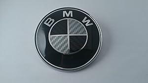 BMW Carbon Fiber Black Silver Emblem Badge Logo for Hood Front 82mm 3.23 inch, 2 pins at the back