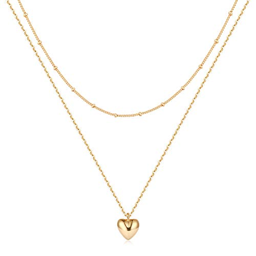 Mevecco Gold Dainty Layered Heart Chain Necklace for Women,14K Gold Plated Cute Tiny Heart Shaped Beaded/Satellite Chain Minimalist Simple Necklace