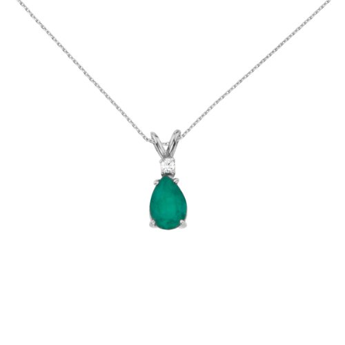 Jewels By Lux 14k White Gold Genuine Birthstone Pear Shaped Emerald and Diamond Oval Pendant (0.7 Cttw.) ()