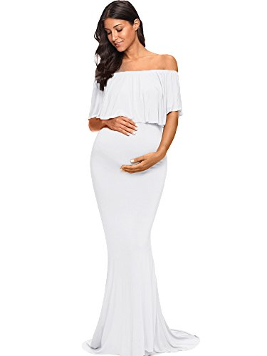 Love2Mi Womens Maternity Off Shoulder Ruffles Dress Mama Photography Slim Fitted Gown Maxi White