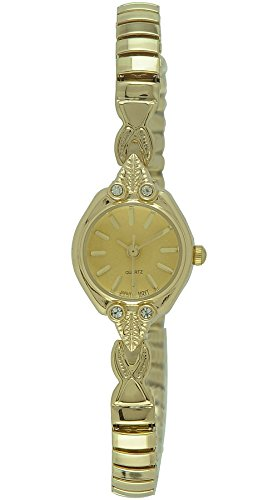 Gold Ladies Watch Band (Moulin Women's Fancy Slender Expansion Gold Watch #10512.04407)