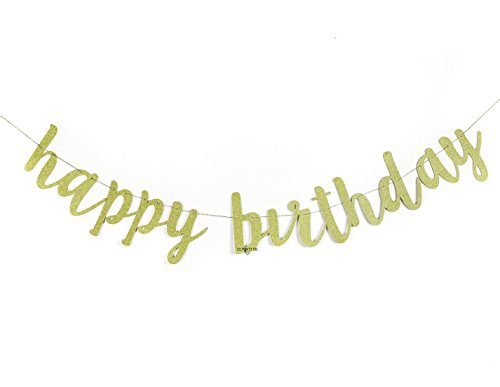 Metallic Happy Birthday Banner - Happy Birthday Gold Glitter Banner | Chic Surprise Party | Birthday Celebration Decorations | Pennant Bunting Flag Garland | 30th 40th 50th 60th 70th 80th 16th 59th 95th 88th 20th 1st 21s